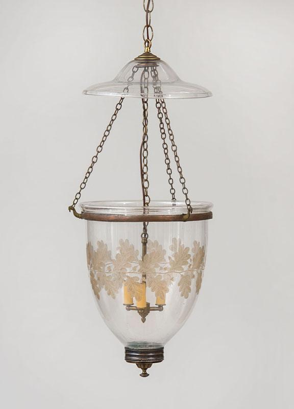 REGENCY STYLE ETCHED GLASS AND BRASS THREE-LIGHT HALL LANTERN