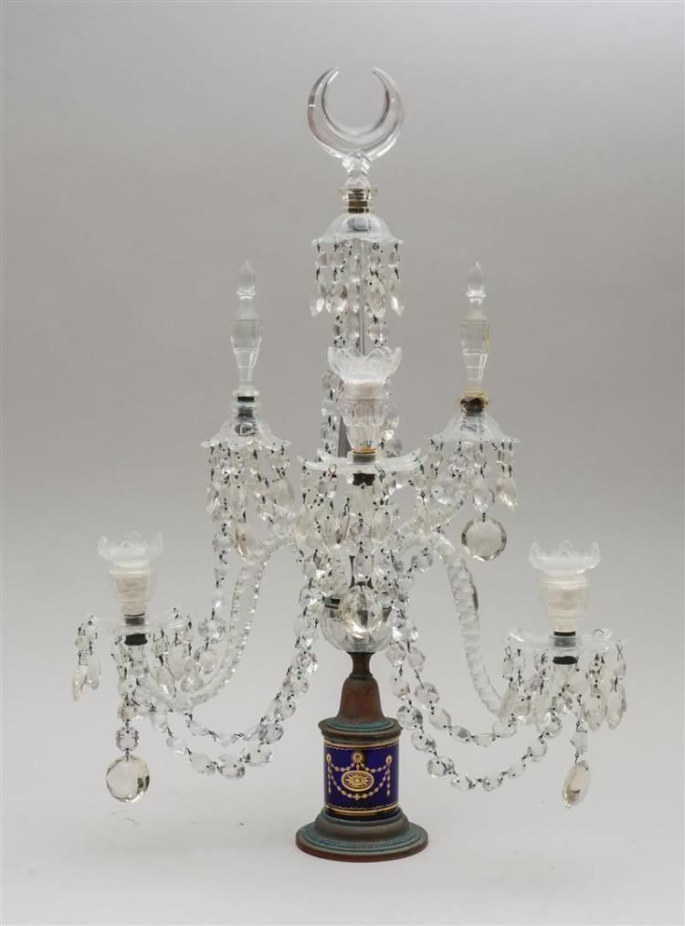 GEORGE III STYLE CUT-GLASS TWO-LIGHT CANDELABRUM