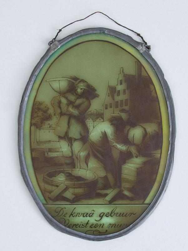 DUTCH PAINTED GLASS OVAL PANEL