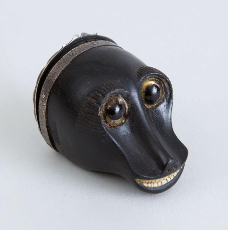 SILVER-MOUNTED CARVED EBONY MONKEY-HEAD SNUFF BOX