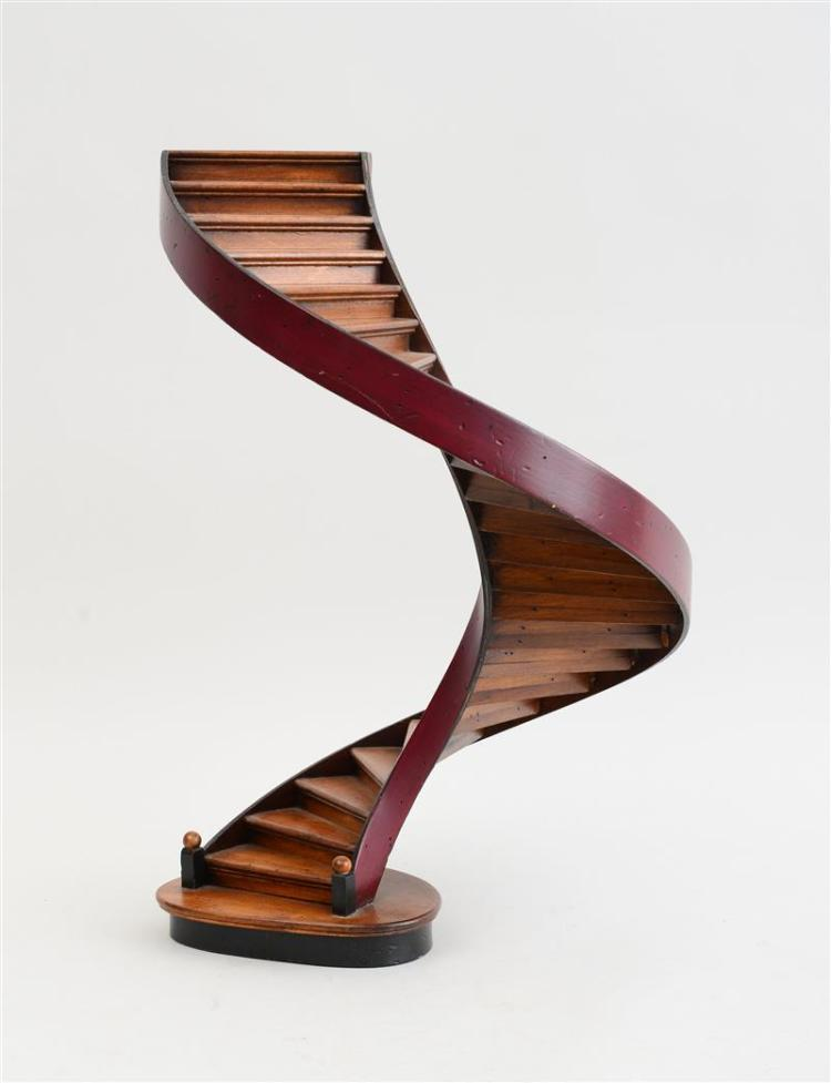 ENGLISH MAHOGANY AND BENTWOOD MODEL OF A SPIRAL STAIRCASE, MODERN