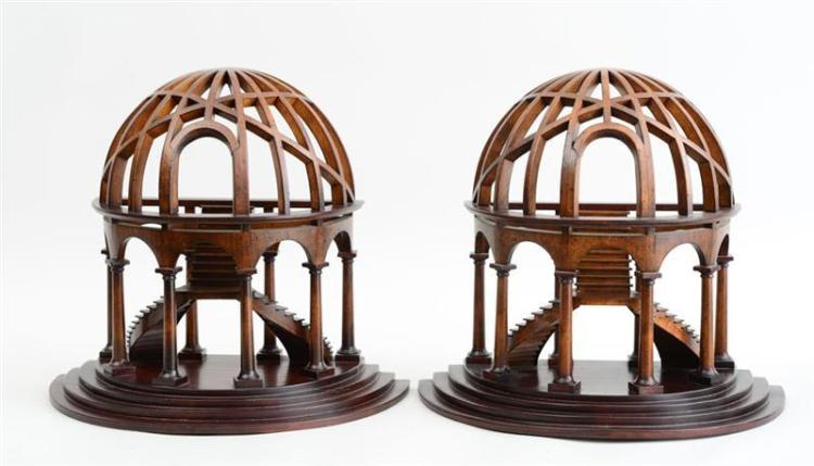 PAIR OF MAHOGANY ARCHITECTURAL MODELS, MODERN
