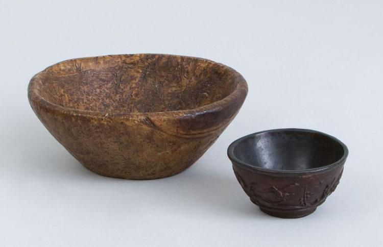 SMALL BURRWOOD BOWL WITH TAPERED SIDES AND A CHINESE RELIEF-CARVED HARDWOOD CUP