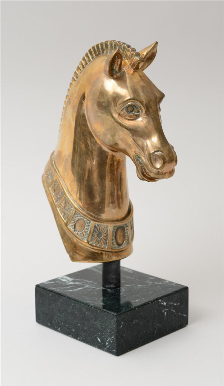 BRASS HOLLOW-CAST HEAD OF A HORSE, AFTER THE ANTIQUE