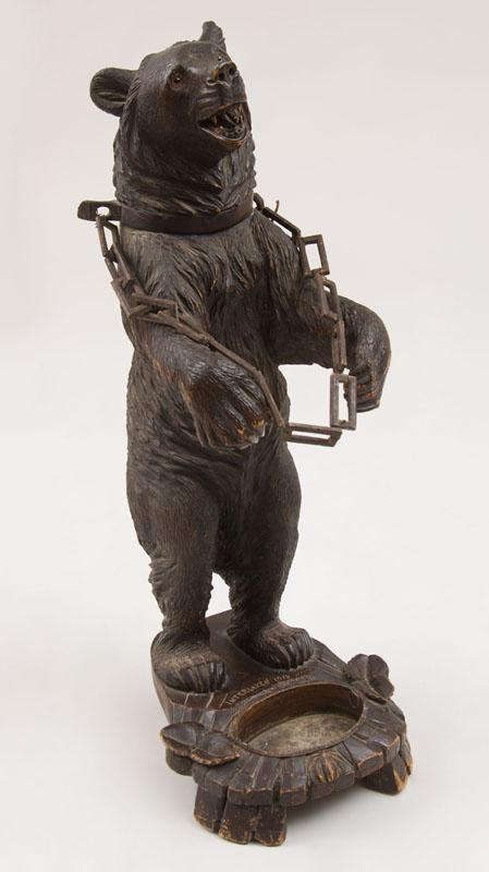 GERMAN CARVED WOOD BEAR-FORMED UMBRELLA STAND, MARKED INTERLAKEN, 1912