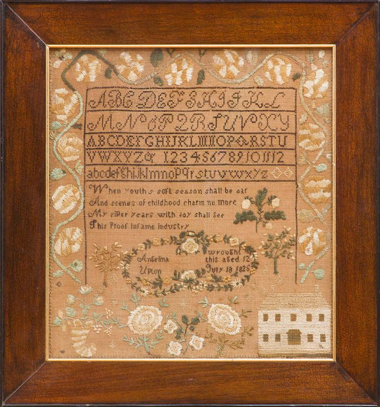 AMERICAN NEEDLEWORK SAMPLER, WROUGHT BY ANGELINA UPTON, JULY 18, 1825