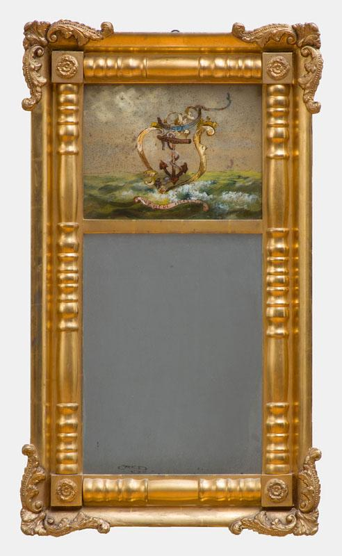 CLASSICAL CARVED GILTWOOD PIER MIRROR WITH ÉGLOMISÉ PANEL