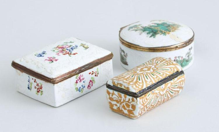 TWO SOUTH STAFFORDSHIRE SNUFF BOXES AND A CONTINENTAL PORCELAIN CIRCULAR BOX