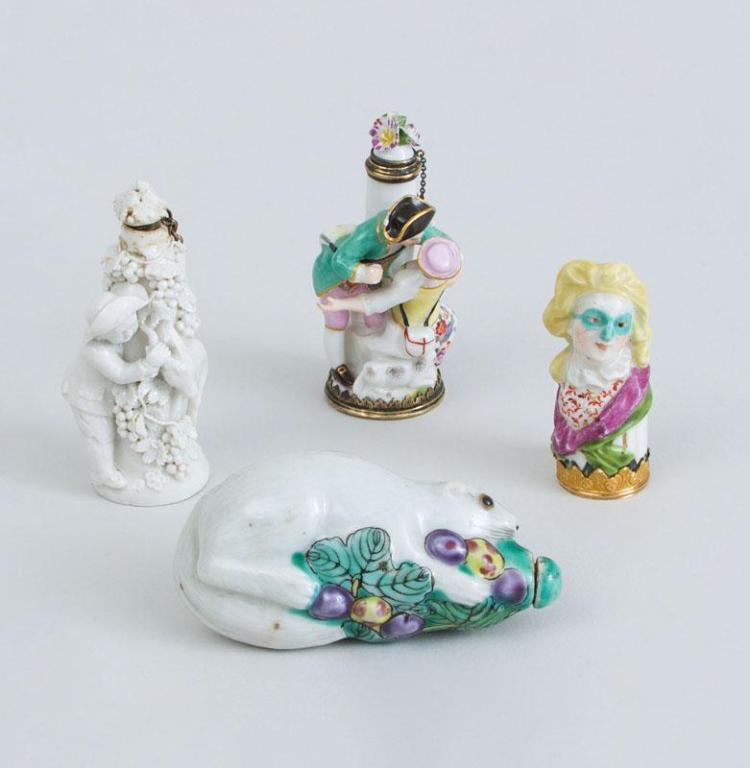 TWO CHELSEA-TYPE PORCELAIN FIGURAL SCENT BOTTLES, AN ETUI LID AND A CHINESE PORCELAIN SCENT BOTTLE