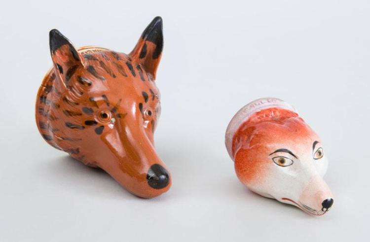 TWO STAFFORDSHIRE FOX HEAD STIRRUP CUPS
