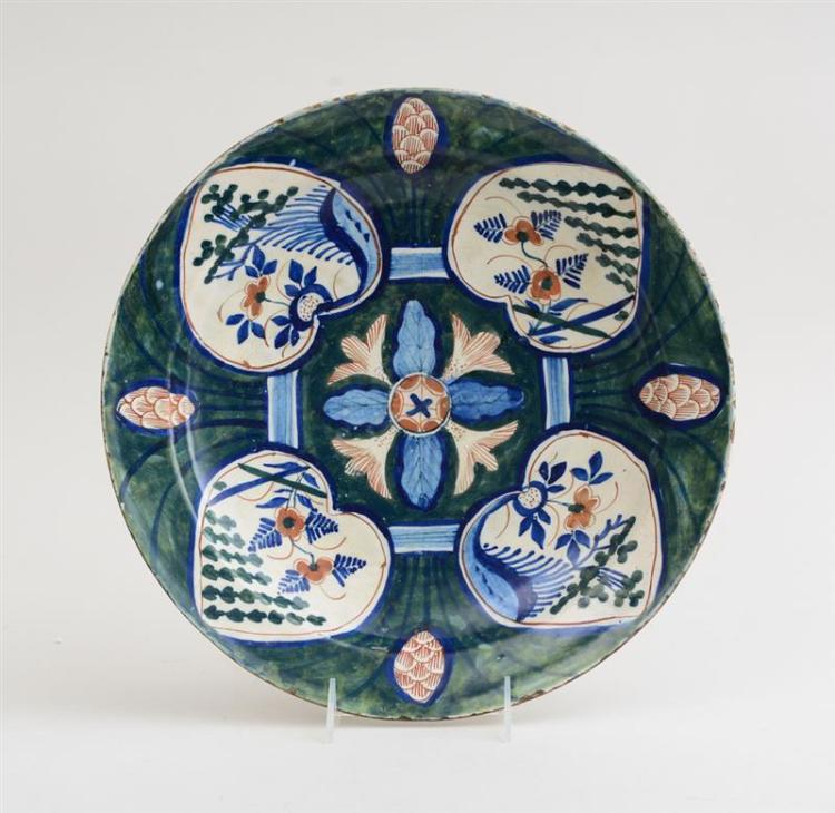 DUTCH POLYCHROME DELFT CHARGER, IN THE
