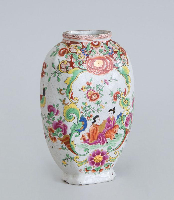 CONTINENTAL POLYCHROME DELFT VASE, IN THE FAMILLE ROSE STYLE