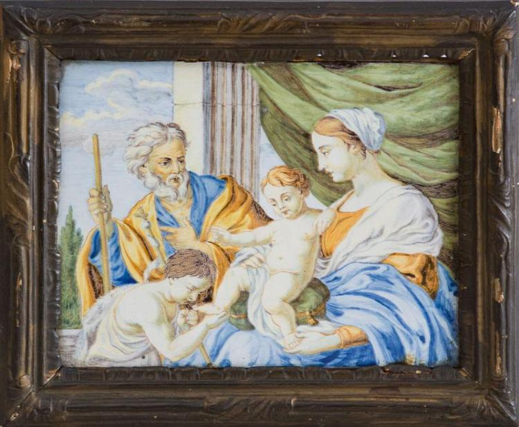 FRENCH FAIENCE PICTORIAL PANEL OF THE HOLY FAMILY AND ST. JOHN THE BAPTIST