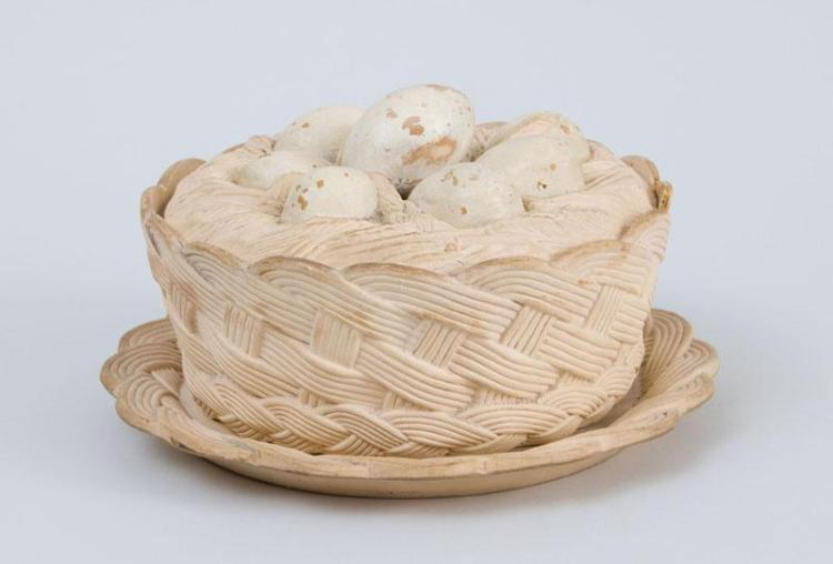 CONTINENTAL POTTERY EGG TUREEN, COVER AND STAND