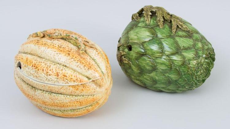 ITALIAN MAJOLICA ARTICHOKE-FORM TUREEN AND COVER AND ANOTHER MELON-FORM TUREEN AND COVER