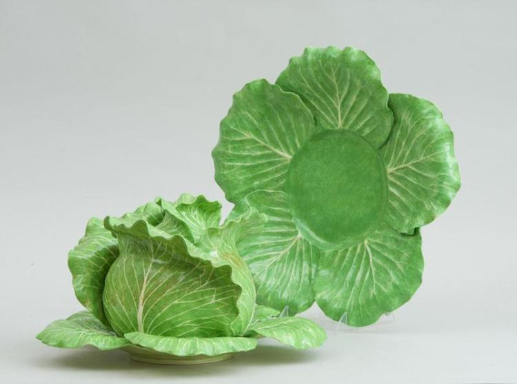 DODIE THAYER GREEN-GLAZED POTTERY CABBAGE-FORM TUREEN AND COVER AND TWO GRADUATED STANDS