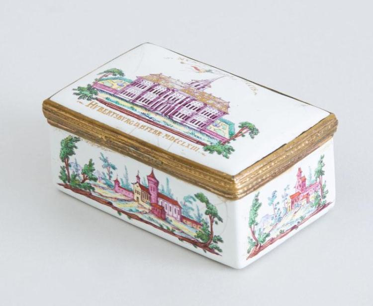 GERMAN GILT-METAL-MOUNTED ENAMEL SNUFF BOX