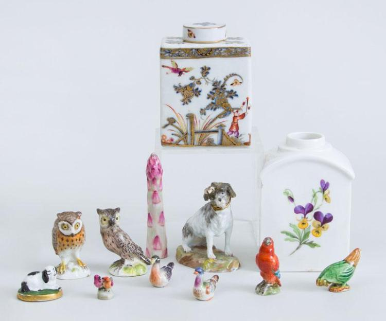 MEISSEN PORCELAIN TEA CADDY AND COVER, ANOTHER (LACKING COVER), FOUR OTHER MEISSEN PIECES AND SIX MINIATURE ANIMAL FIGURES