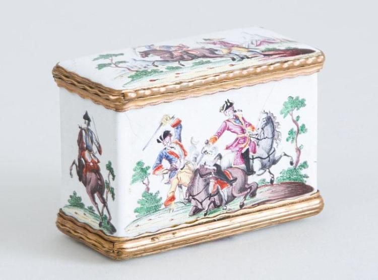 CONTINENTAL GILT-METAL-MOUNTED ENAMEL DOUBLE-LIDDED SNUFF BOX