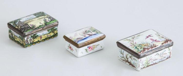 THREE ENAMEL SNUFF BOXES