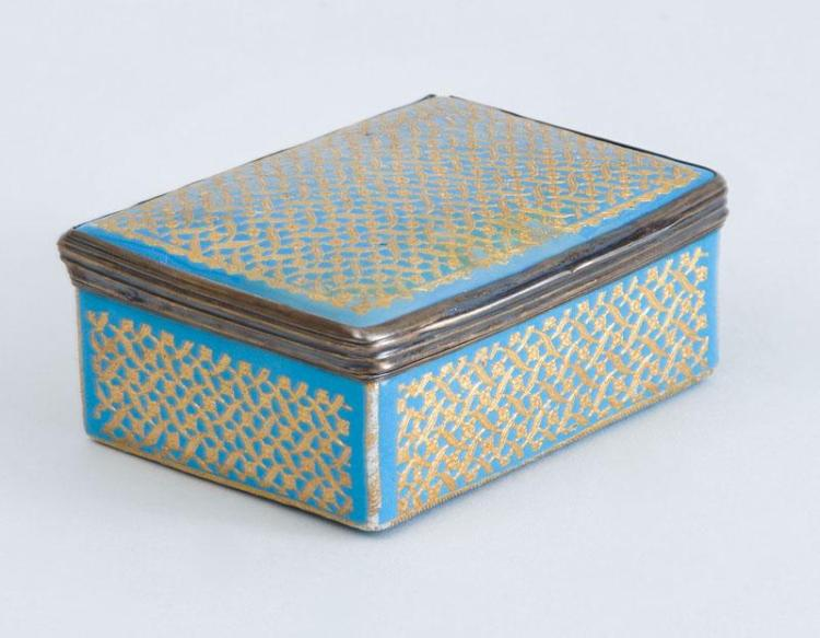 LOUIS XVI SILVER-GILT-MOUNTED ENAMEL RECTANGULAR BOX