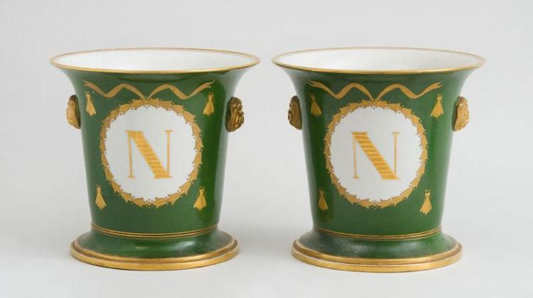 PAIR OF FRENCH EMPIRE STYLE PORCELAIN GREEN AND GILT-PAINTED CACHE POTS