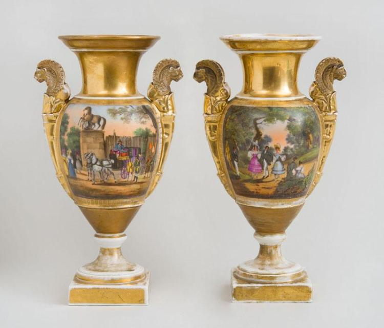 PAIR OF PARIS PORCELAIN PAINTED AND PARCEL-GILT SCENIC URNS
