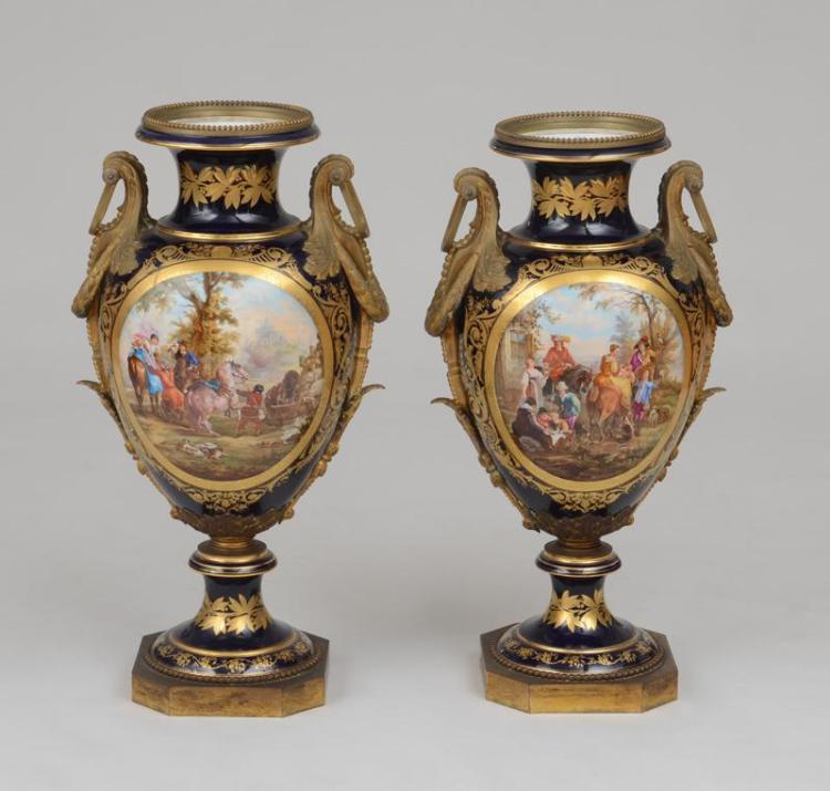PAIR OF LOUIS XVI STYLE GILT-BRONZE-MOUNTED