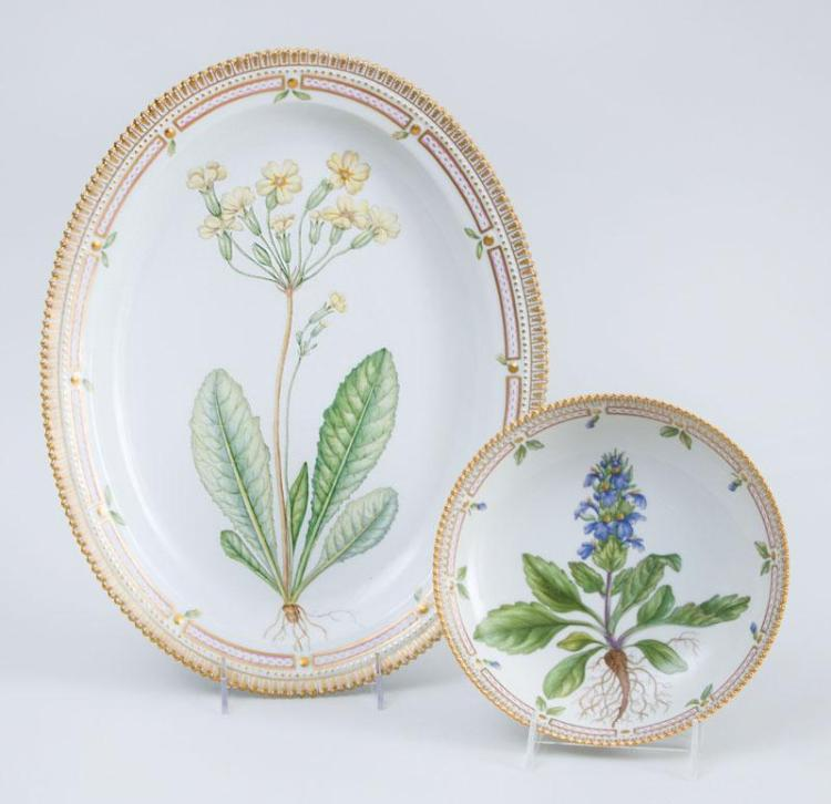 ROYAL COPENHAGEN PORCELAIN OVAL PLATTER AND A CIRCULAR SHALLOW BOWL, IN THE FLORA DANICA PATTERN