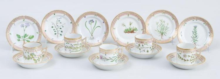 FIVE ROYAL COPENHAGEN PORCELAIN CYLINDRICAL CUPS, FIVE SAUCERS AND SIX BUTTER PLATES, IN THE FLORA DANICA PATTERN