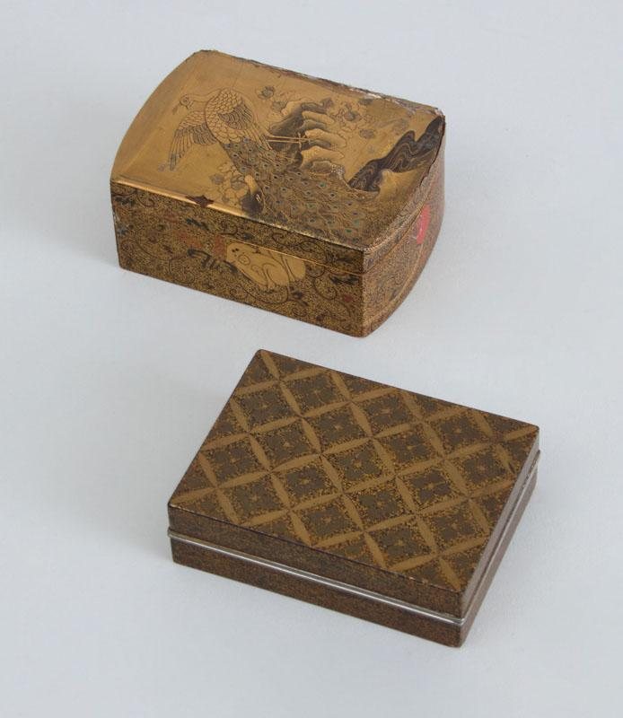 TWO JAPANESE LACQUER BOXES AND COVERS