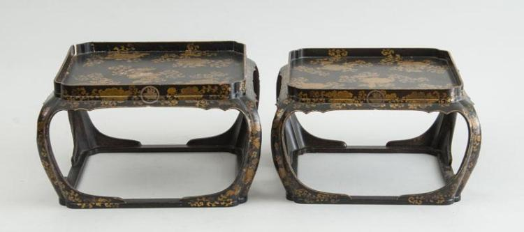 PAIR OF JAPANESE LACQUER GRADUATED TRAY TABLES