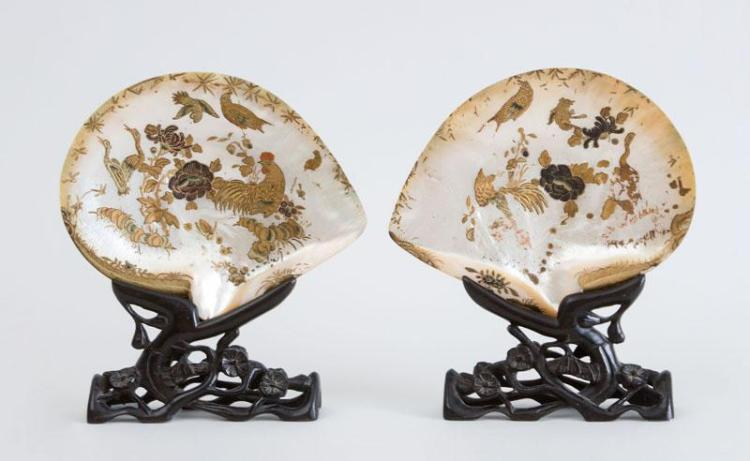 PAIR OF JAPANESE GILT AND POLYCHROME ENAMELED ABALONE SHELLS