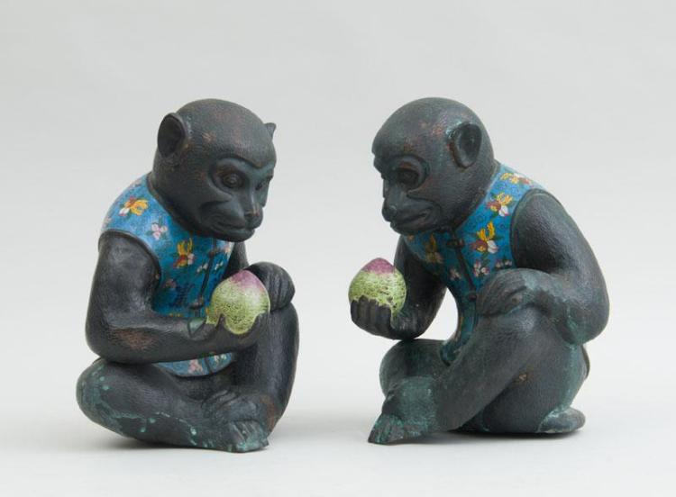 PAIR OF CHINESE CLOISONNÉ MOUNTED COPPER FIGURES OF MONKEYS