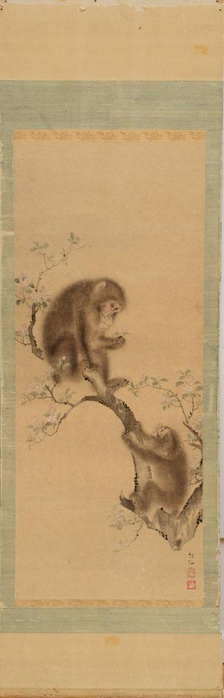 ATTRIBUTED TO MORI SOSEN (1747-1821): TWO MONKEYS ON BLOSSOMING BRANCHES