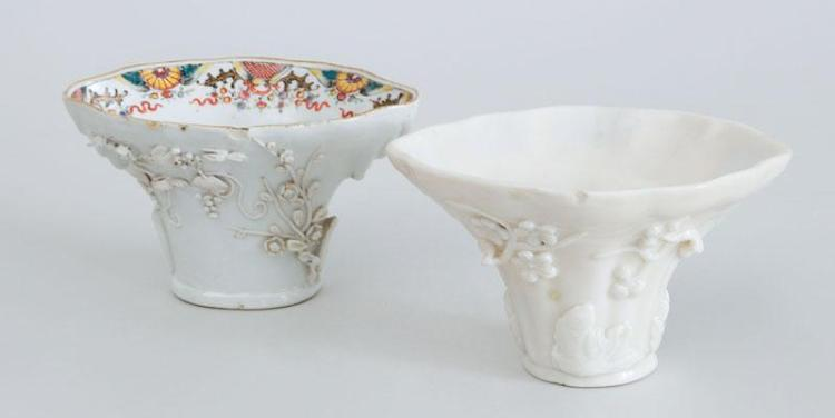 TWO PORCELAIN RHINOCEROS HORN-FORM CUPS