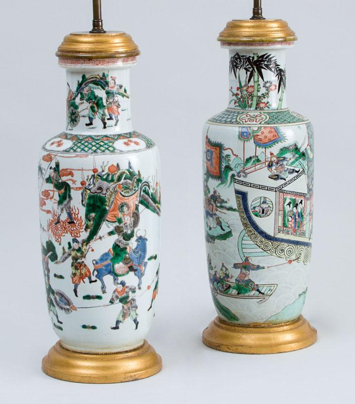 TWO SIMILAR CHINESE FAMILLE VERTE PORCELAIN ROULEAU VASES, MOUNTED AS LAMPS