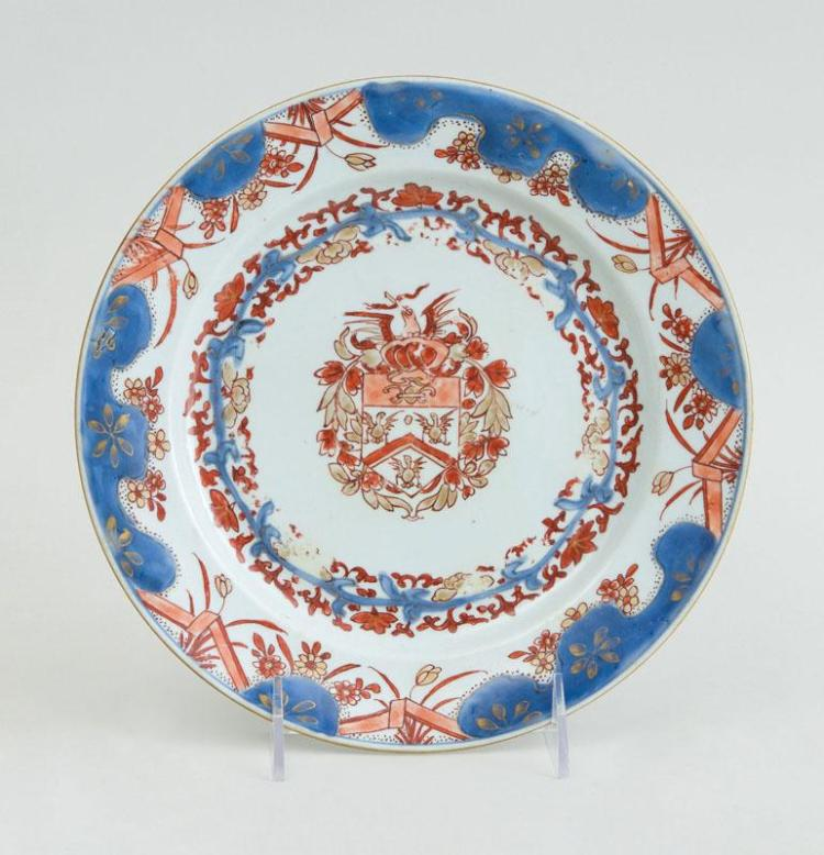 CHINESE EXPORT PORCELAIN IMARI ARMORIAL PLATE, MADE FOR THE DUTCH MARKET
