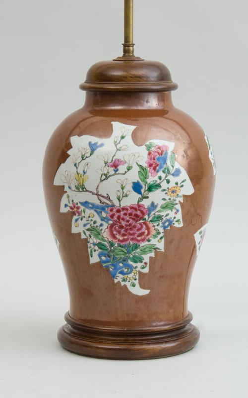 CHINESE EXPORT CAFE AU LAIT-GROUND FAMILLE ROSE PORCELAIN JAR, MOUNTED AS A LAMP