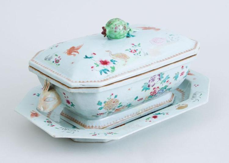 CHINESE EXPORT FAMILLE ROSE PORCELAIN RABBIT''S HEAD TUREEN, COVER AND PLATTER