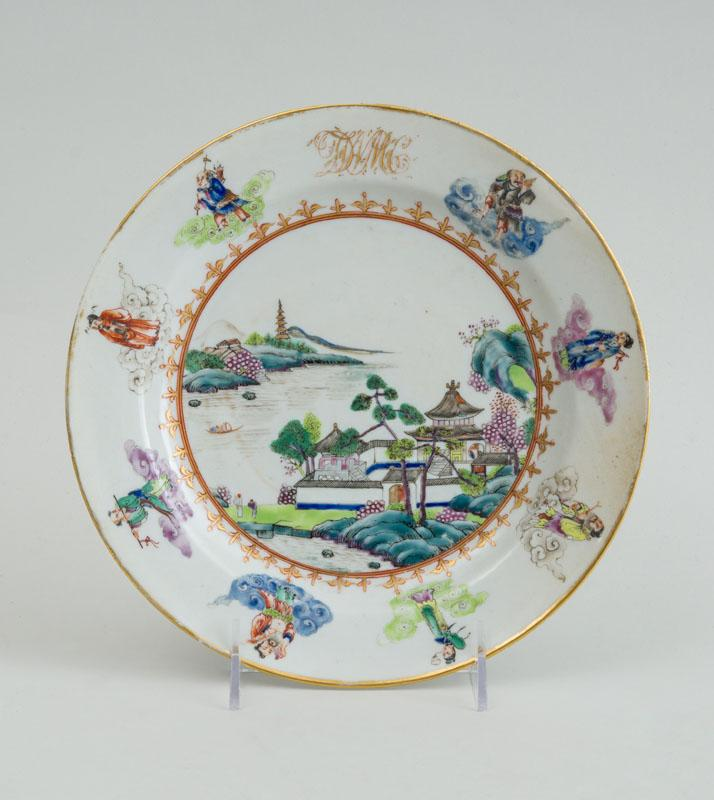 DEWITT CLINTON: CHINESE EXPORT PORCELAIN PLATE MADE FOR THE AMERICAN MARKET