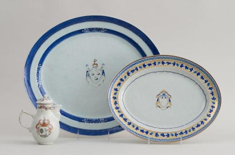 CHINESE EXPORT PORCELAIN ARMORIAL CREAMER AND COVER AND TWO CHINESE EXPORT PORCELAIN PLATTERS