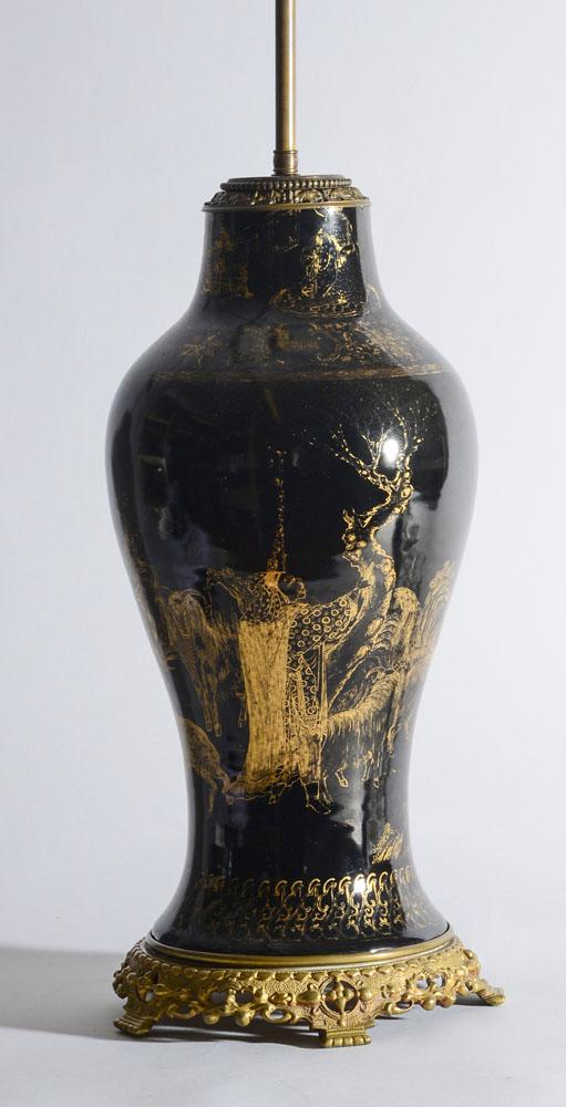 CHINESE GILT-DECORATED MIRROR BLACK-GLAZED PORCELAIN VASE, NOW MOUNTED AS A LAMP