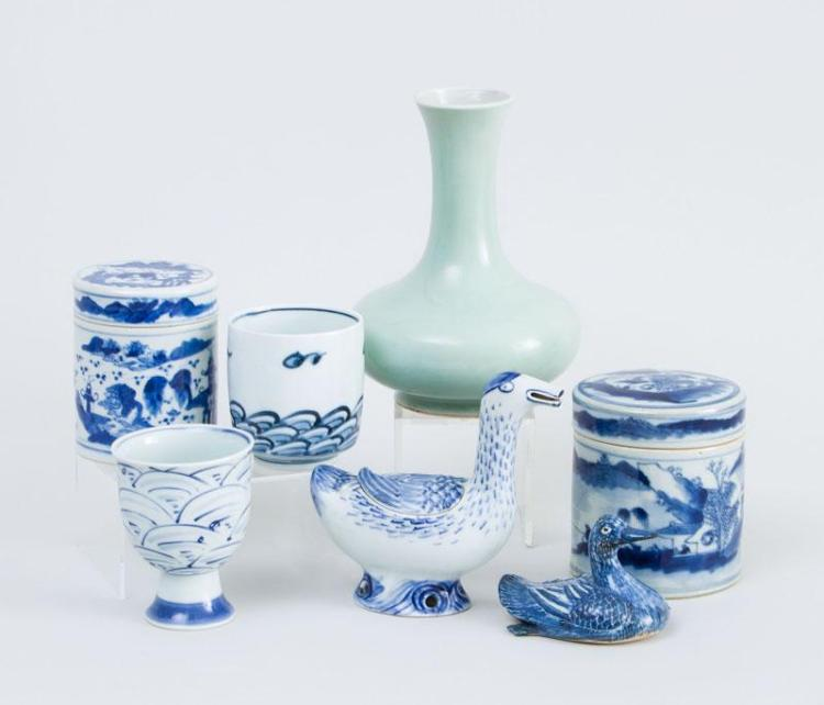 GROUP OF SEVEN CHINESE PORCELAIN ARTICLES AND A EUROPEAN POTTERY MASK HEAD INK WELL