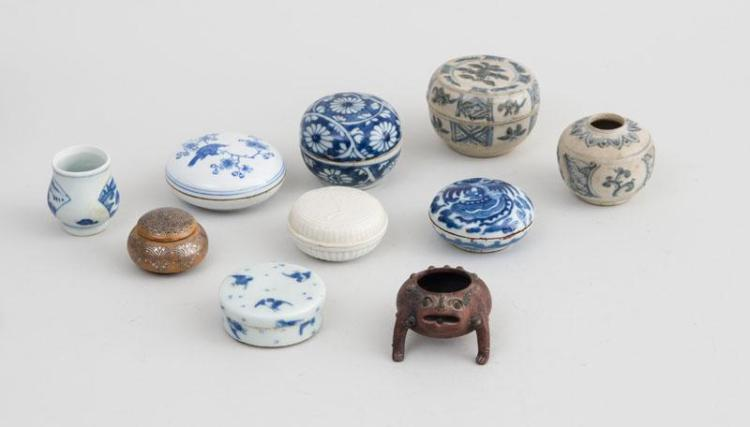 GROUP OF SIX CHINESE AND OTHER SEAL PASTE BOXES AND COVERS