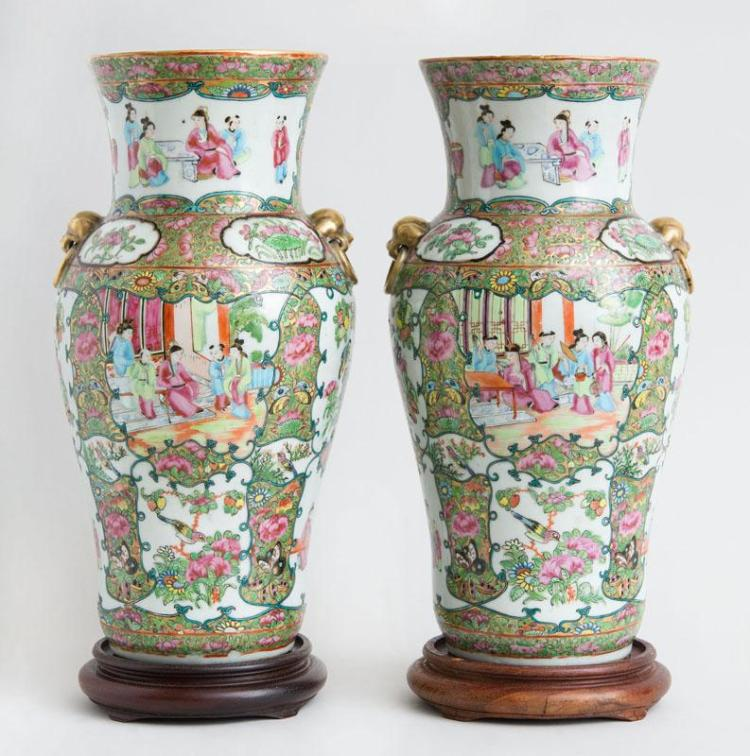 PAIR OF CHINESE EXPORT ROSE MEDALLION PORCELAIN BALUSTER-FORM VASES