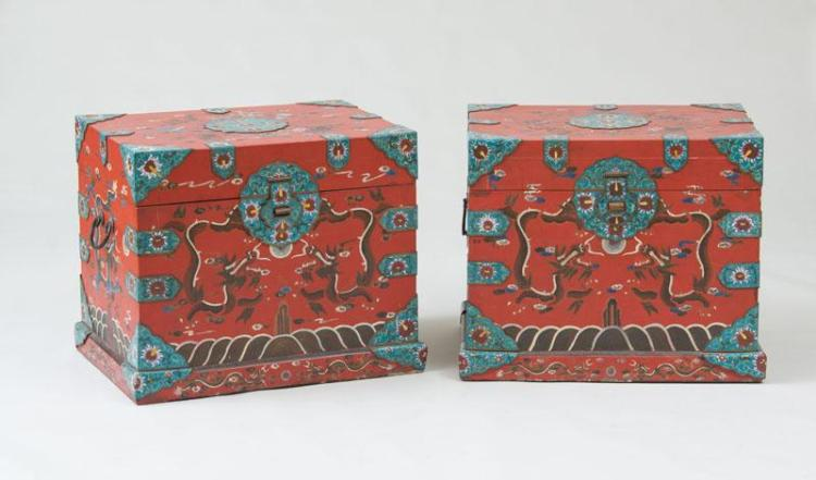 PAIR OF UNUSUAL CHINESE EXPORT CLOISONNÉ-MOUNTED RED LACQUER TRUNKS
