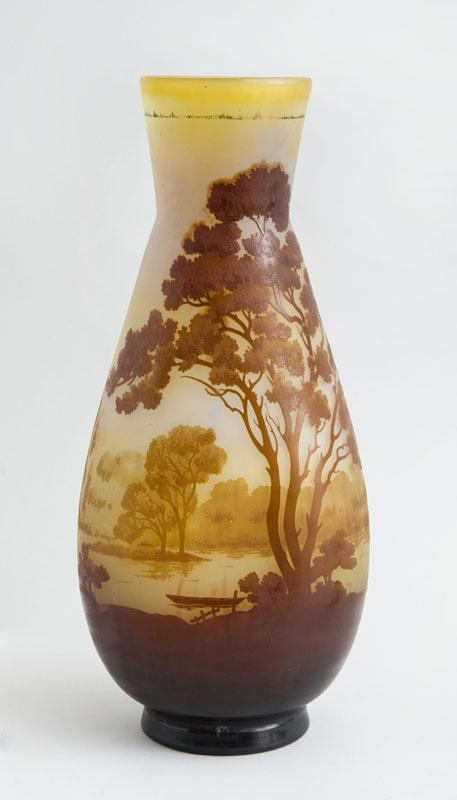 GALLÉ CAMEO GLASS LANDSCAPE VASE