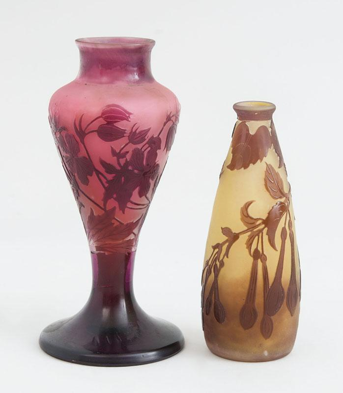 TWO GALLÉ CAMEO CUT GLASS SMALL VASES