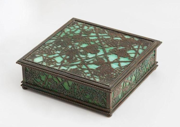 TIFFANY STUDIOS BRONZE-MOUNTED FAVRILLE GLASS SQUARE BOX, IN THE WOODBINE PATTERN